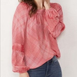 LC Lauren Conrad shirred peasant top